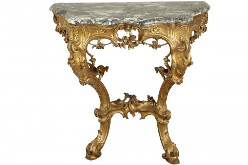 Venice : Wooden console with a marble top, 18th century circa 1750
