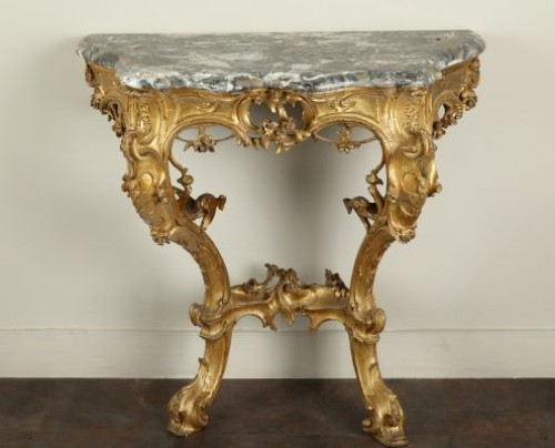 Venice : Wooden console with a marble top, 18th century circa 1750 - Furniture Style