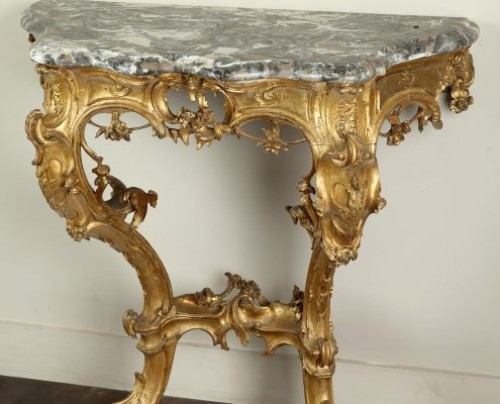 Furniture  - Venice : Wooden console with a marble top, 18th century circa 1750