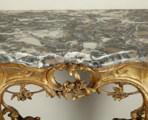 18th century - Venice : Wooden console with a marble top, 18th century circa 1750