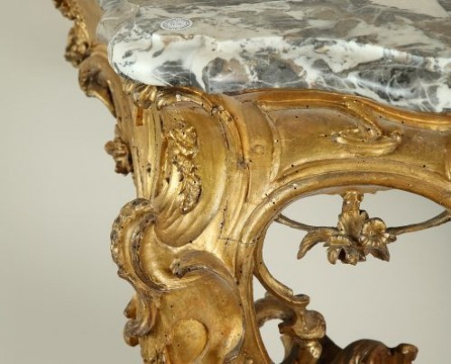 Antiquités - Venice : Wooden console with a marble top, 18th century circa 1750