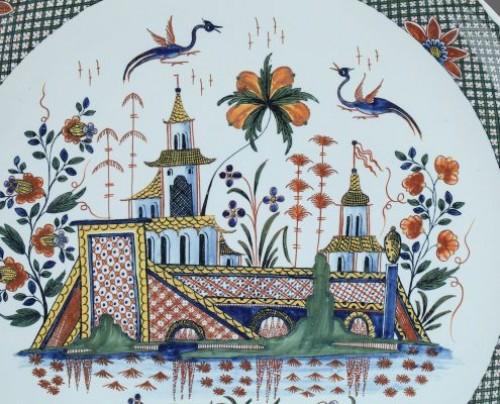 Porcelain & Faience  - Large Rouen faïence dish . First half of 18th century circa 1735 - 1740