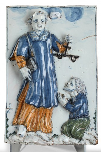 NEVERS : Large faïence plaque depicting St Leonard. 17th century