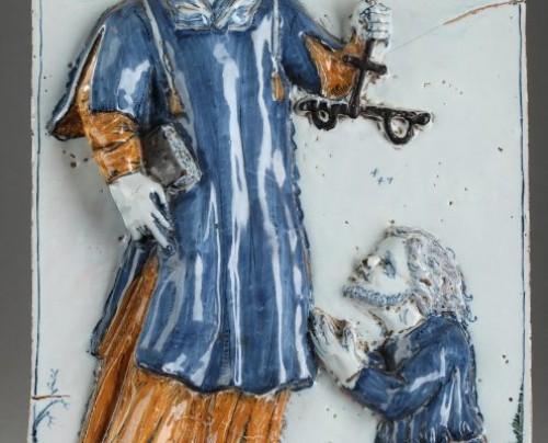 NEVERS : Large faïence plaque depicting St Leonard. 17th century - Porcelain & Faience Style
