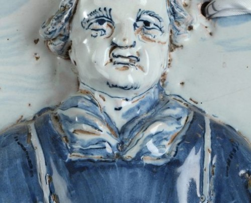 Porcelain & Faience  - NEVERS : Large faïence plaque depicting St Leonard. 17th century