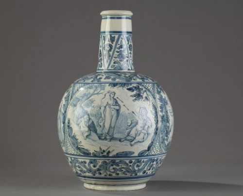 Laterza (Italy) : Rare Faience gourd. Early 18th century - Porcelain & Faience Style