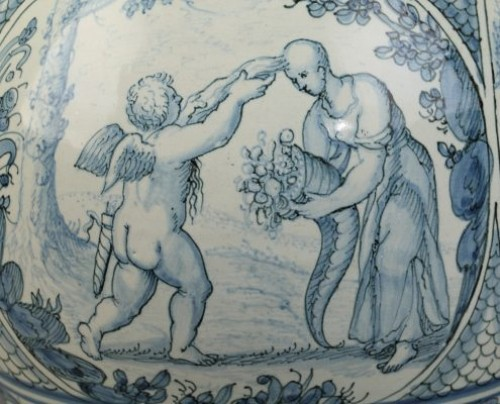 Laterza (Italy) : Rare Faience gourd. Early 18th century -