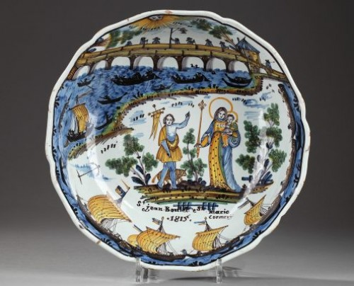 Nevers Faïence bowl decorated with the Loire bridge. Circa 1815 - Porcelain & Faience Style