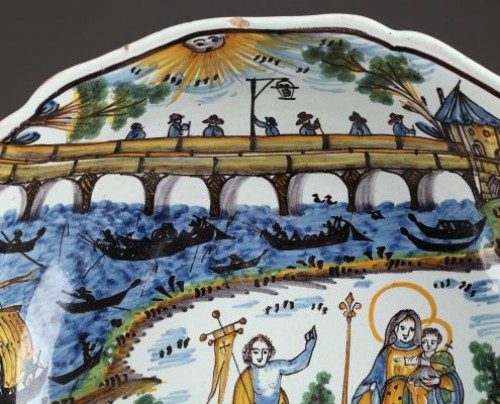 Porcelain & Faience  - Nevers Faïence bowl decorated with the Loire bridge. Circa 1815