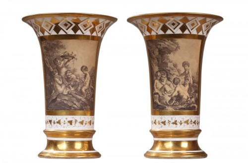 PARIS : Houzel manufacture. Paire of vases End of 18th century