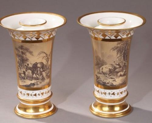 Porcelain & Faience  - PARIS : Houzel manufacture. Paire of vases End of 18th century