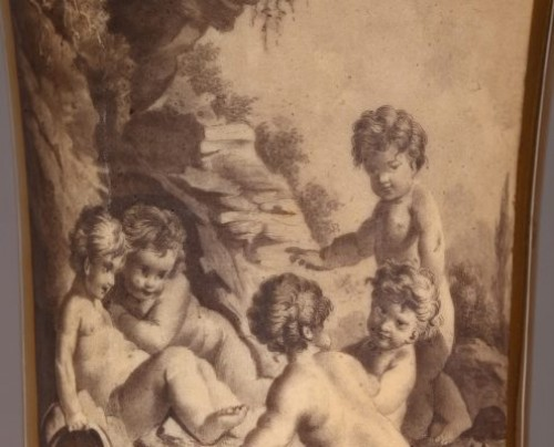 18th century - PARIS : Houzel manufacture. Paire of vases End of 18th century
