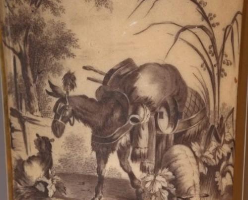 - PARIS : Houzel manufacture. Paire of vases End of 18th century