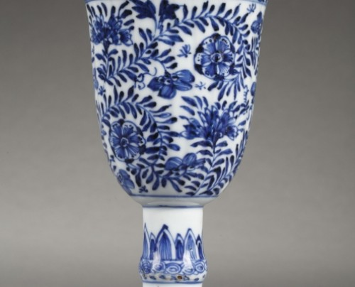 Porcelain & Faience  - CHINA : Covered Gobelet Kangxi period 1662 - 1722