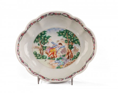 China Small dish depicting Sir George Brander murder. Circa 1785