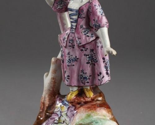 SCEAUX ou OLIVIER, PARIS : Pair of Faïence Fine figures 18th century -
