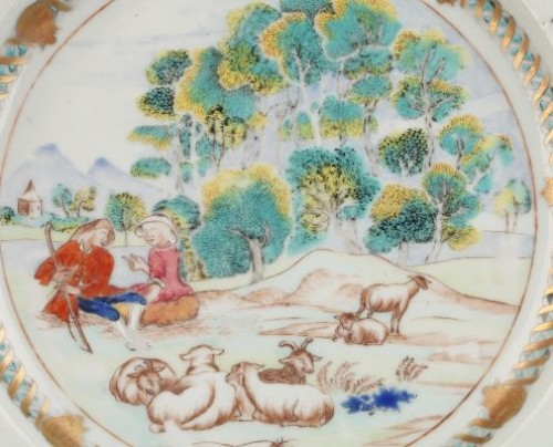 Porcelain & Faience  - China Exportware plate decorated with a romantic scene Circa1740