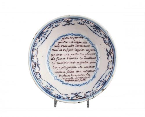 Lyon : Pierre Scize workshop, faïence bowl circa 1750