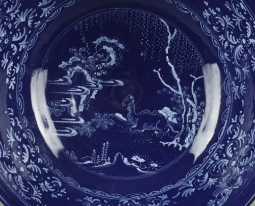 NEVERS : Faïence bowl decorated with a bleu persan background 17th century - Porcelain & Faience Style
