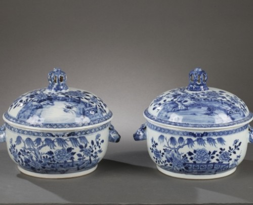 China Exportware pair of terrines Qianlong period 1736 - 1795 - Porcelain & Faience Style