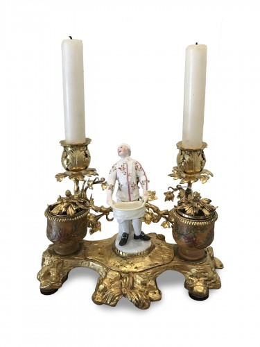 Louis XV period inkwell in gilded bronze