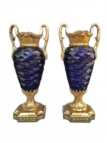 Pair of Louis XVI vases in royal blue glass of Creusot