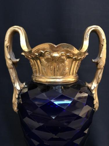 Pair of Louis XVI vases in royal blue glass of Creusot -