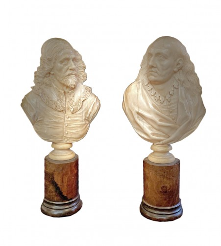 Pair of ivory profiles in high relief, English work of the 17th century