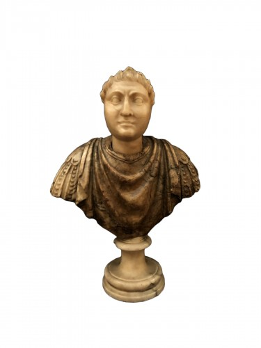 Small bust of a Roman dignitary, Italian work of the 17th century