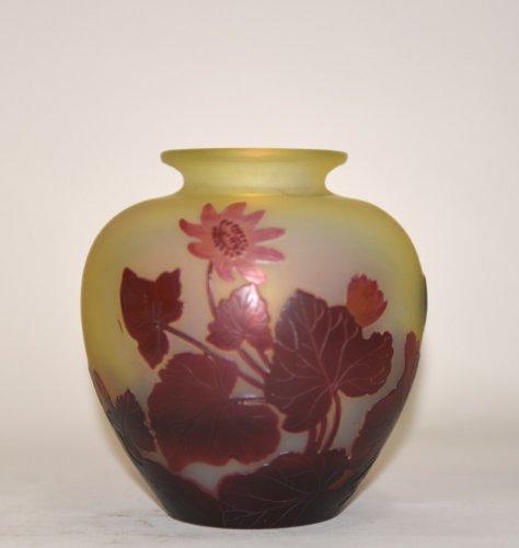 """Red buttercups"" vase - GALLÉ - Glass & Crystal Style Art nouveau"