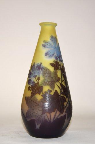 """""""Blue flower"""" vase - GALLÉ - Glass & Crystal Style Art nouveau"""