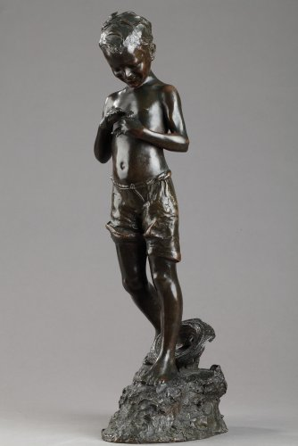 Boy with fishes - Giovanni de MARTINO (1870-1935) - Sculpture Style