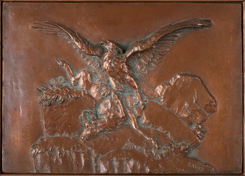 Low-relief « Eagle with Chamois » - Antoine-Louis Barye (1796-1875) - Sculpture Style