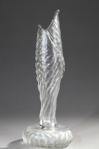 Vase with Banana leaf decor - Cristallerie by Emile GALLÉ - Glass & Crystal Style Art nouveau