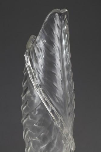 Glass & Crystal  - Vase with Banana leaf decor - Cristallerie by Emile GALLÉ