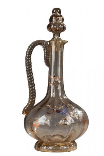 Jug with enamelled floral decor - Cristallerie by Emile GALLÉ