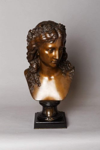 Bust of a girl with a floral wreath - Eugène AIZELIN (1821-1902) - Sculpture Style Napoléon III