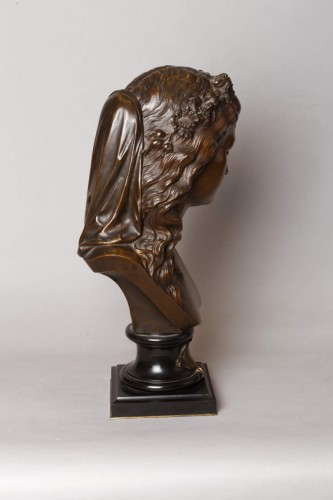 Sculpture  - Bust of a girl with a floral wreath - Eugène AIZELIN (1821-1902)