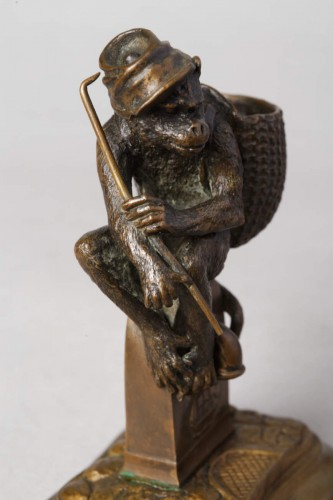 19th century - Monkey match-holder - Christophe FRATIN (1801-1864)