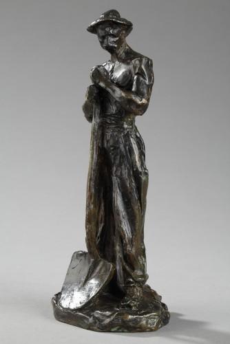 Terrassier leaning on a Shovel - Aimé-jules Dalou (1838-1902) - Sculpture Style