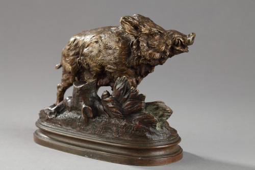 Wild Boar - Alfred Dubucand (1828-1894) - Sculpture Style