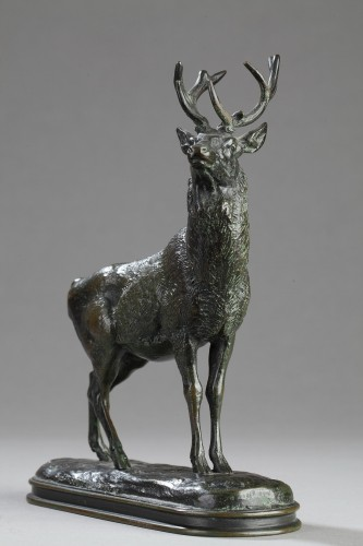 Stag listening - Antoine-Louis BARYE (1796-1875) - Sculpture Style