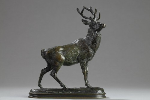 Sculpture  - Stag listening - Antoine-Louis BARYE (1796-1875)