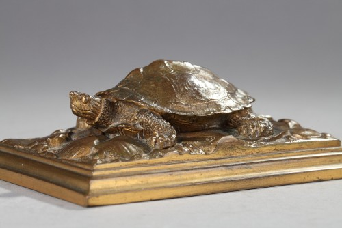 Turtle with Naturalized Base - Antoine-Louis BARYE (1796-1875) - Sculpture Style