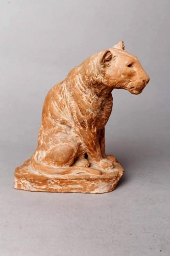 Panther watching - Roger GODCHAUX (1878-1958) - Sculpture Style Art Déco