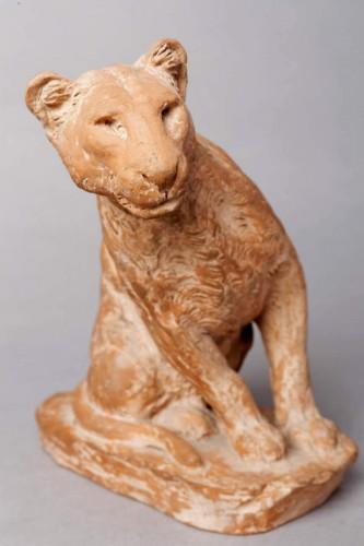 Sculpture  - Panther watching - Roger GODCHAUX (1878-1958)