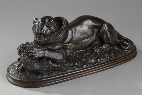 Tiger devouring a gharial - Antoine-Louis BARYE (1796-1875) - Sculpture Style