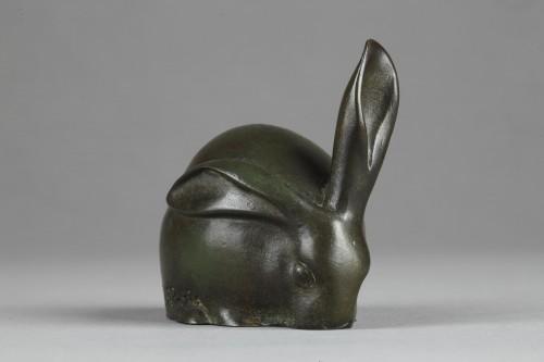 Rabbit with a raised ear - Edouard-Marcel SANDOZ (1881-1971) - Sculpture Style Art Déco