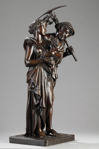Family of Gardeners - Henry Etienne DUMAIGE (1830-1888) - Sculpture Style Napoléon III
