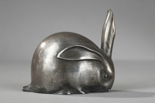 Rabbit with a raised ear - Edouard-Marcel SANDOZ (1881-1971) - Sculpture Style Art Déco
